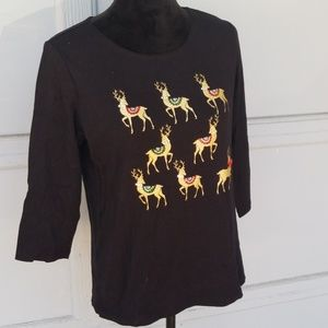 Karen Scott Christmas t-shirt Reindeer